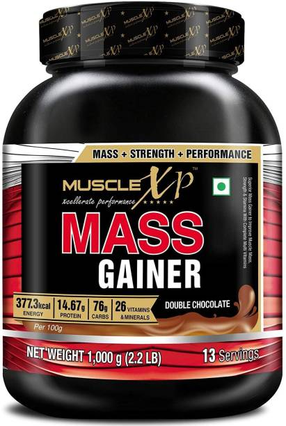 MUSCLEXp Mass Gainer - With 26 Vitamins & Minerals, Digestive Enzymes, Double Chocolate Weight Gainers/Mass Gainers