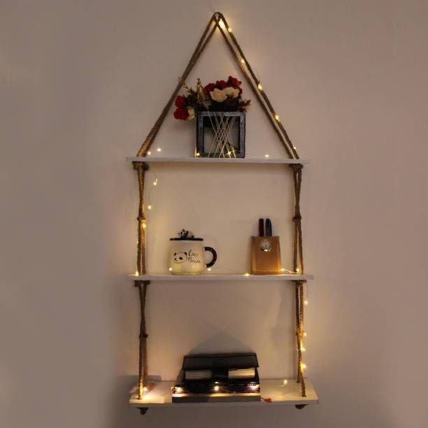 VAH Wall Hanging Shelf with 3 Tier and LED Wood Floating Wall Shelves with Jute Rope-Home Decor Organizer Wooden Wall Shelf