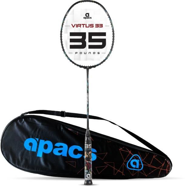 apacs Virtus 33 ( Full Graphite, 35 LBS) Black Unstrung Badminton Racquet
