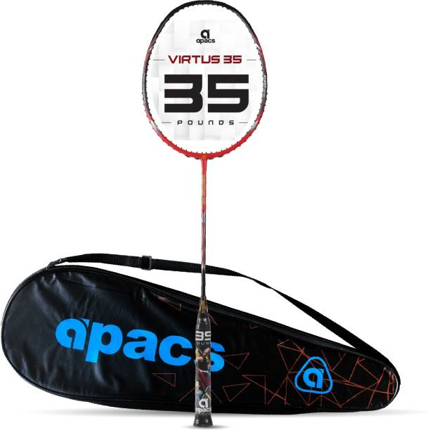apacs Virtus 35 ( Full Graphite, 35 LBS) Red, Black Unstrung Badminton Racquet
