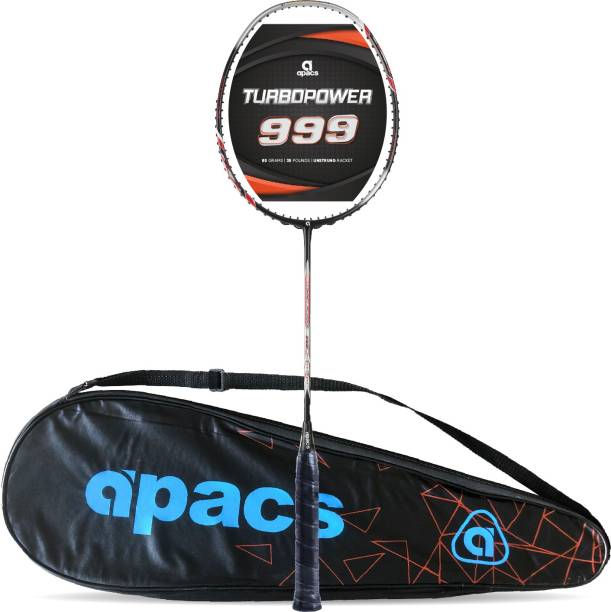 apacs Turbo Power 999 (Full Graphite, 30LBS) Black, White, Silver Unstrung Badminton Racquet