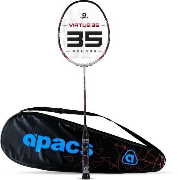 apacs Virtus 35 ( Full Graphite, 35 LBS) Black, White Unstrung Badminton Racquet