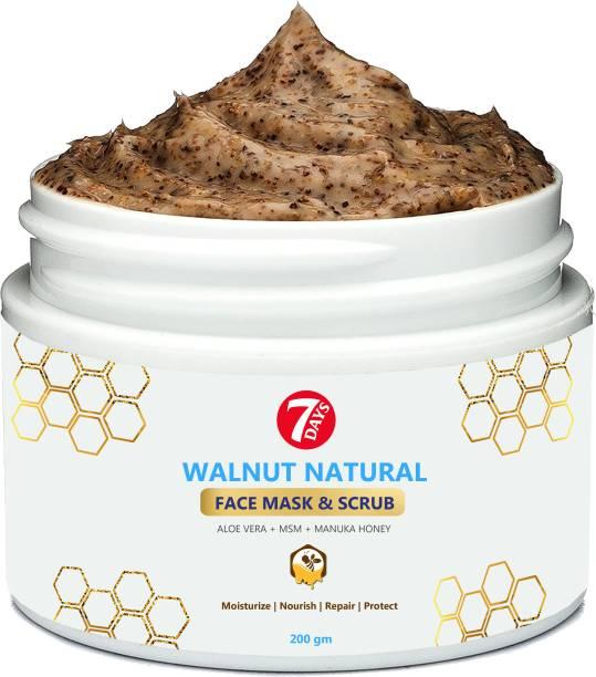 7 Days Deep Cleansing Face Scrub For Glowing Skin, With Walnut Manuka Honey Fcae Mask  Scrub