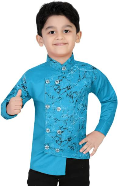 XBOYZ Boys Printed Casual Light Blue Shirt