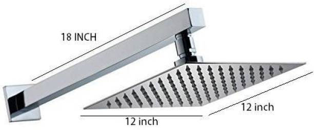 """Caisson 12""""x12"""" Stainless Steel Ultra Slim Square Rain Shower Head with 18inch square arm (Pack of -1 ) Shower Head"""