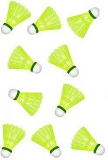 NV COLLECTION Best in class High Speed Practice Plastic Badminton Shuttlecock Pack of 10 Plastic Shuttle  - Yellow