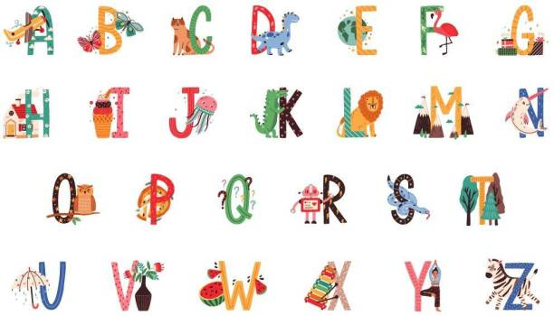 ASIAN PAINTS Extra Large Wall-Ons 'Playful Alphabets' Decal, DIY Removable Peel and Stick Wall Sticker