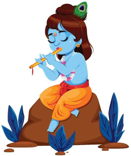 ASIAN PAINTS Extra Large Wall-Ons 'Bal Krishna and The Flute' Decal, DIY Removable Peel and Stick Wall Sticker