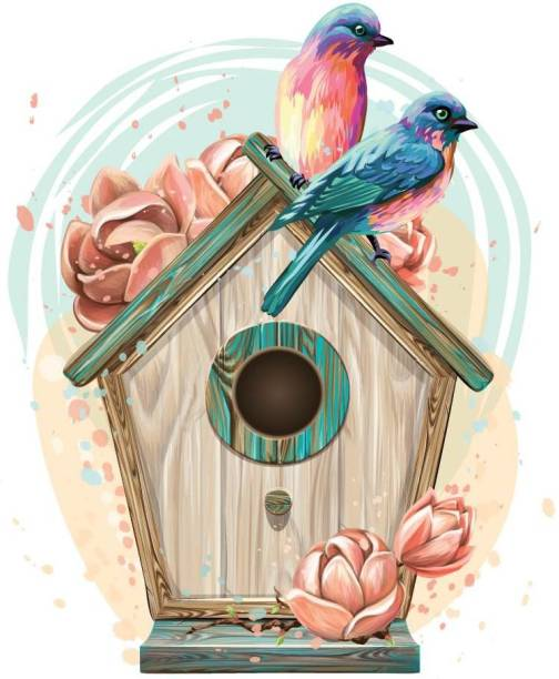 ASIAN PAINTS Extra Large Wall-Ons 'Quaint Birdhouse' Decal, DIY Removable Peel and Stick Wall Sticker