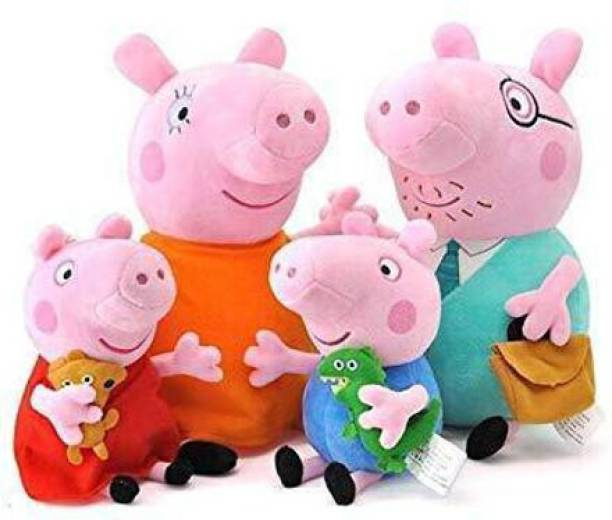 Crispy toys George and Peppa Family Soft Toys Long Soft Lovable hugable Cute Giant Life Size Teddy Bear Gift and Playing Kids (Pig Set, 4pcs Pig Set) (Mummy Pig & Daddy Pig Size 30, George & Peppa Size 20 cm)  - 32 cm