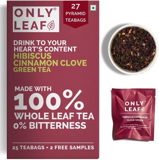 Onlyleaf Hibiscus Cinnamon Clove Green Tea (27 Pyramid Tea Bags) Made with 100% Whole Leaf, Natural Hibiscus, Cinnamon & Clove (25 Tea Bags + 2 Free Samples) Hibiscus Green Tea Bags Box