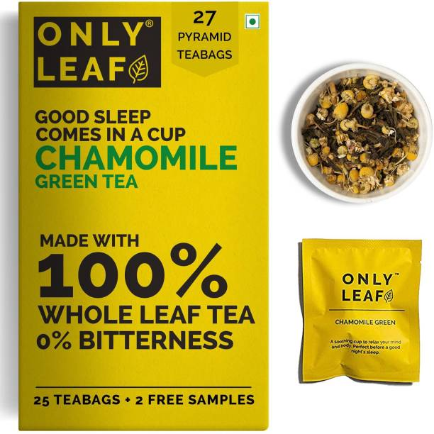 Onlyleaf Chamomile Green Tea For Stress Relief & Good Sleep, Made with 100% Whole Leaf & Natural Chamomile Flowers, 27 Pyramid Tea Bags (25 Tea Bags + 2 Free Samples) Chamomile Green Tea Bags Box
