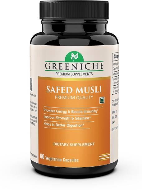 Greeniche Safed Musli Extract for Strength, Immunity & Stamina - 60 Veg Capsules