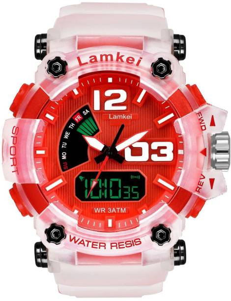 LAMKEI LW-3 Analog Digital Watch For Men - Premium Imported Casual Sporty Display Day and Date Function RED Dial TRANSPARENT Silicon Strap Analog-Digital Watch for men and boys Analog-Digital Watch  - For Men