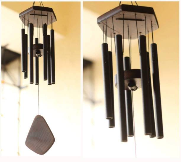 Black horse creation 7 Pipes/Rods Fengshui Windchime with Good Sound for Positive Vibrations and Energy at Home and Office (Black ,24 inch)   Home Decoration Items Wind Chimes for Home   7 Pipe Black Wind Chimes for Home Positive Energy   metal Windchimes for Balcony Bedroom with Sweet Sound Brass Windchime
