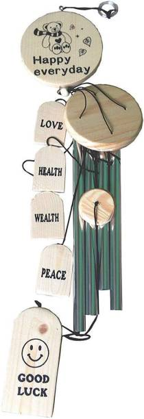 RASHMI CREATION Wind Chime Hanging for Home, Balcony, Garden Gallery Office Bedroom with Good Sound Quality The Positive Energy 4 Silver Pipes Good Luck - 30 inches Aluminium, Wood Windchime