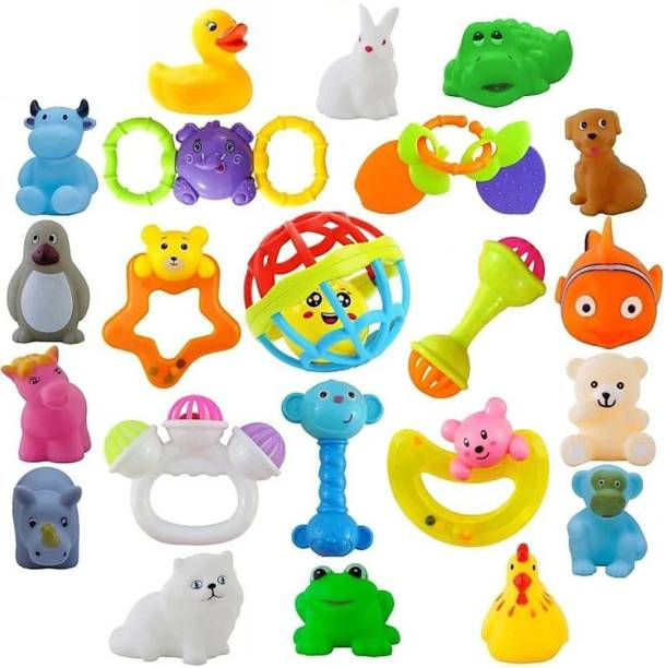 PEZYOX Set of 22 Pcs Lovely Attractive Colourful Rattle and Bath Toys for Newborn Babies, Toddlers, Infants, Child baby rattle and bath toy for kids Rattle