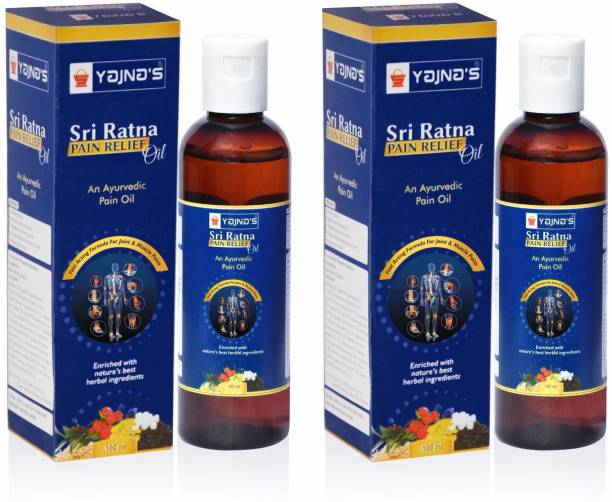 YAJNAS Sri Ratna 100 ml (Pack of 2) Ayurvedic / Natural Pain Relief Oil for Knee, Shoulder and Muscular Pain, Arthritis Pain, Joint Pain, Back Pain, Upper Back Pain, Neck Pain, Sprains and Spasms Liquid