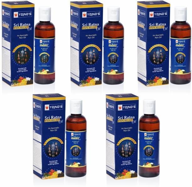 YAJNAS Sri Ratna 100 ml (Pack of 5) Ayurvedic Pain Oil / Natural Pain Relief Oil for Knee, Shoulder and Muscular Pain, Arthritis Pain, Joint Pain, Back Pain, Upper Back Pain, Neck Pain, Sprains and Spasms Liquid
