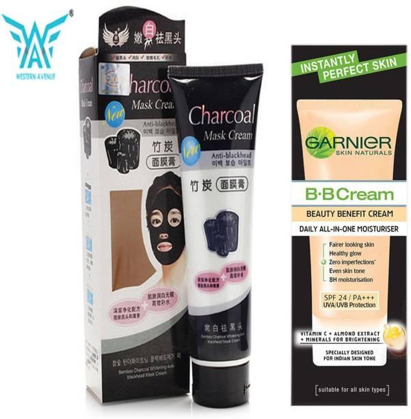 GARNIER Skin naturals b.b cream beauty benefit cream daily all in one moisturiser 30 g + western avenue peel off mask 130 gm