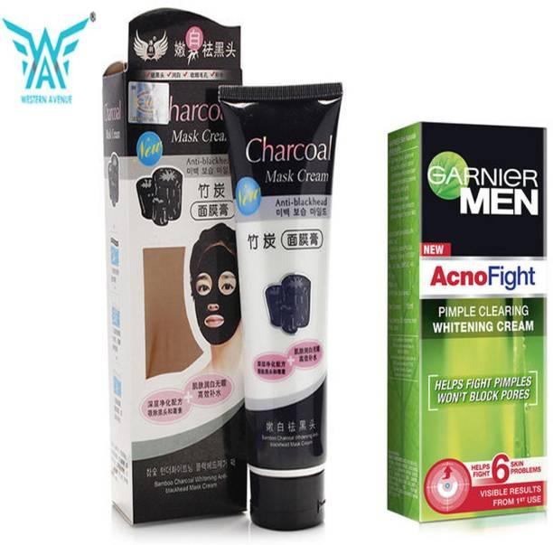 GARNIER Acno fight pimple clearing whitening cream 45 g + western avenue peel off mask 130 gm