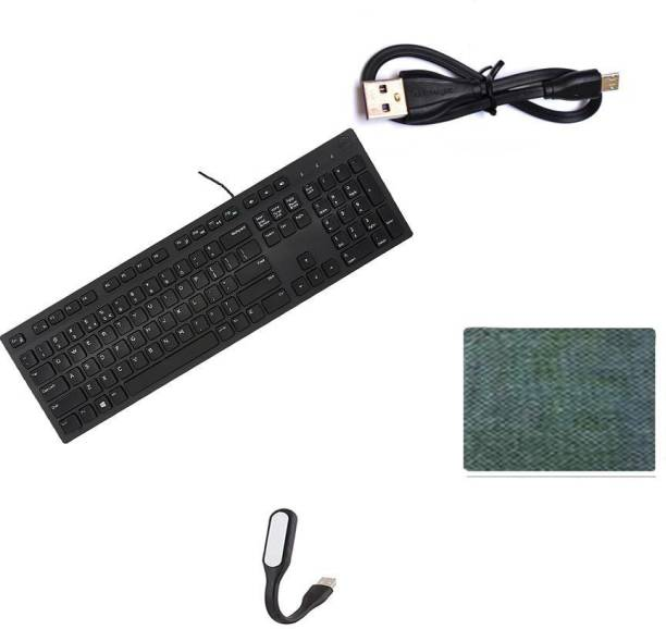 DELL Full-Sized Keyboard , Hotkeys and function for Desktop/Laptop/Smart TV Spill-Resistant Wired USB Keyboard with 10 million keystrokes lifespan Multimedia Keyboard (580-AEKD, Black) ) - MOUSE PAD Cable Connector Cord pendrive Compatible…17 cm Short USB to Micro-USB Power Line Cable flexible usb light lamp for laptop computer- Combo Set