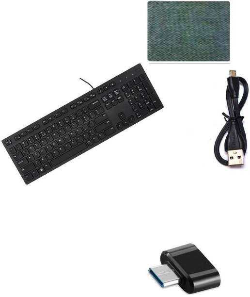 DELL Full-Sized Keyboard , Hotkeys and function for Desktop/Laptop/Smart TV Spill-Resistant Wired USB Keyboard with 10 million keystrokes lifespan Multimedia Keyboard (580-AEKD, Black) ) -17 cm Short USB to Micro-USB Power Line Cable - MICRO ADOPTER- MOUSE PAD Combo Set