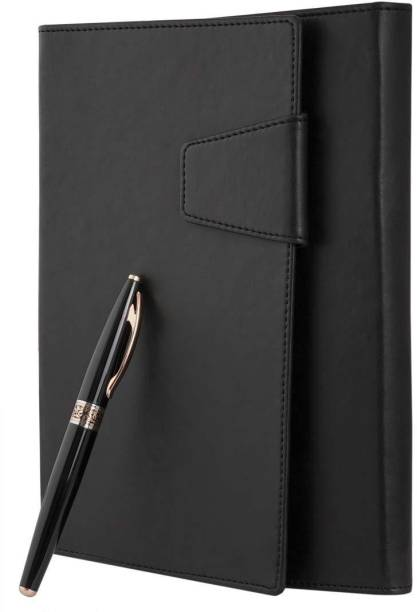 COI Raven Black Daily Planner/Executive Faux Leather Travel Journal Diary, Office Stationery Card - Document Holder for Boys and Girls with Pen A5 Planner RULED 180 Pages