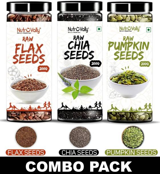 NutroVally Raw Chia Seeds, Flax Seeds, Pumpkin Seeds Combo Loaded with Omega 3, Zinc, Fiber, Calcium, Protein for weight loss, Healthy Heart and Boost Immunity seed for Eating
