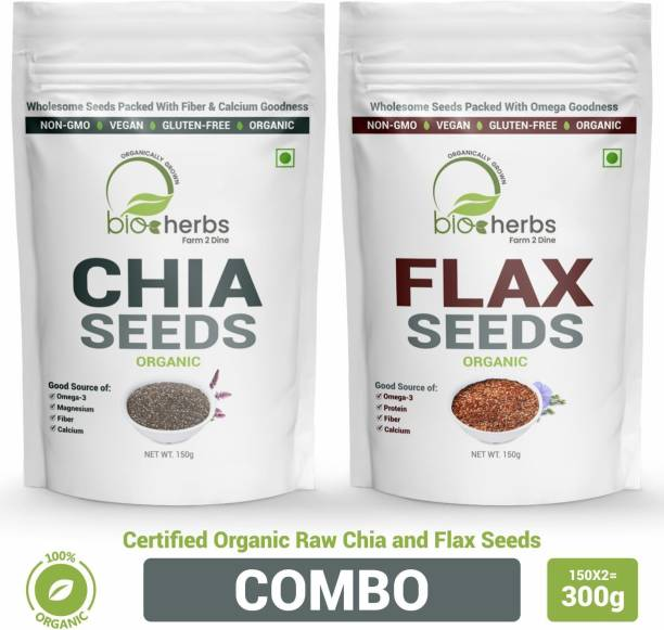 Bioherbs Certified Organic Raw Chai & Flax Seeds Combo Pack For Fiber & Weight Loss With Omega-3