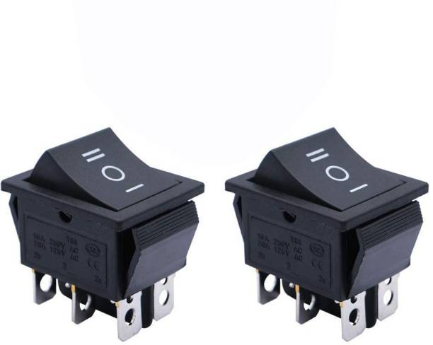 SYMFONIA Rocker Boat Switch, 2 Pcs DPDT 6 Pins heavy duty Rocker Power Switch Snap, AC 20A/250V 15A/125V, 3 Position ON/Off/ON Mini Boat Rocker Switch Toggle for Car Auto Boat 20 A Three Way Electrical Switch