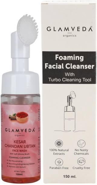 GLAMVEDA Kesar Chandan Ubtan Foaming  With Soft Silicone Brush - With Vitamin E & Hyaluronic Acid- Paraben & Sls Free- Face Wash