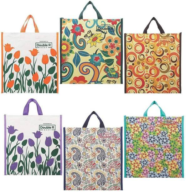 Double R Cotton Shopping Bags by Double R Bags - Kitchen Essentials (Tote/Carry Bag/Medium Reusable Grocery Bags, (Pack of 6) Pack of 6 Grocery Bags