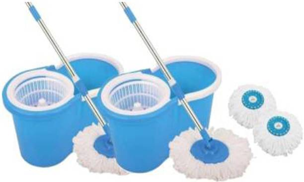 Neemco Spin Bucket with 2 Refills- Super Absorbent for All Type of Floors, 360 Degree, 180 Degree Bendable Handle, for Perfect Cleaning (Color May Vary) Mop, Mop Refill