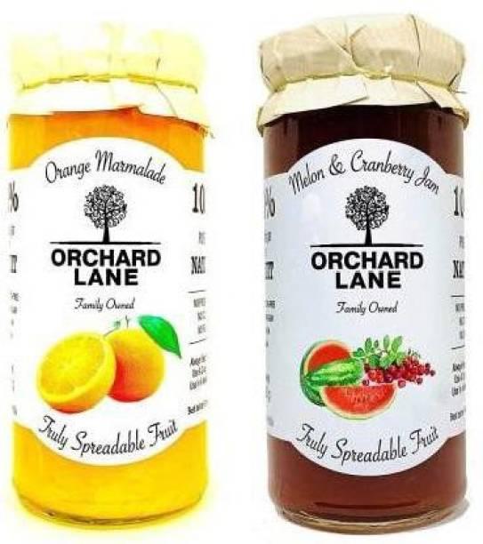 Orchard Lane Combo of Orange Marmalade with 80% Orange , 80% Fruit- Melon Cranberry Jam No Preservatives 280 g 280 g