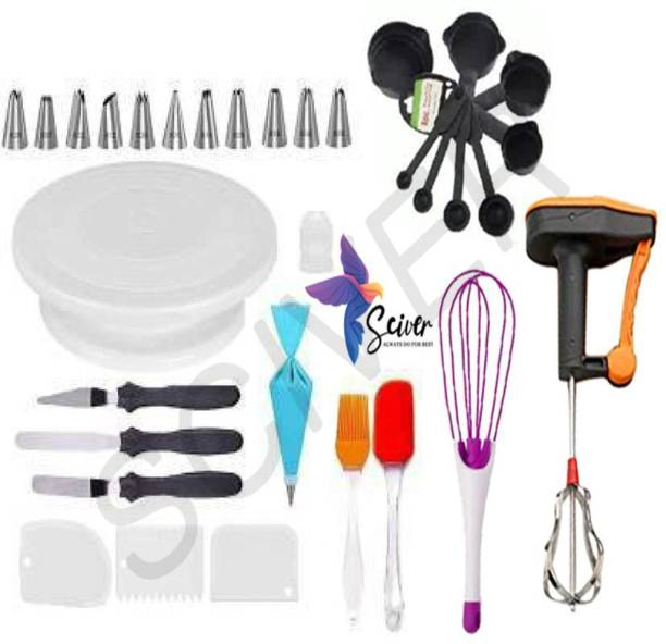 SCIVER X-203 All In One Bakeware Cake Combo Tools Cake Baking and making Tools Combo For Cake Decoration At Home, Kitchen And Store Kitchen Tool Set Cake Tools Round Easy Rotate Turntable + 12 Piece Piping Bag Nozzles Cake Decorating Tool Set Frosting Icing Cream Syringe Piping Bag Tips With Steel Nozzles Muffin Dessert Decorators Reusable & Washable Kitchen Tool Set + Multipurpose Heat Resistant Baking Oil Cooking Silicone Spatula and Pastry Brush Set For Cooking + 3 Pcs and Set Scraper Dough Fondant Scraper, Icing Smoother, Baking Supplies Baking CombO + 8-Pc Black Measuring Cups (240 ml, 120 ml, 60 ml, 30 ml, 10 ml, 5 ml, 2.5 ml, 1.2 ml) +Easy to Handle Ergonomic Handle Designed To Be More Comfortable In Your Hand(Set Of 3 Spatula Knife Set) + Powerfree singal hand blender + Magic Flodable Plastic Whisk and Server Set Popular Combo 8 in 1 BAKING TOOLS SET Multicolor Kitchen Tool Set (Multicolor) Multicolor Kitchen Tool Set