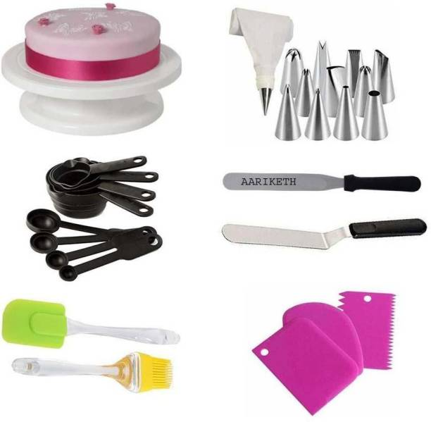 Aariketh Cake Combo of Cake Decorating Kits Cake Turntable, 12 Numbered Cake Decorating Tips, 2 Icing Spatula, 3 Icing Smoother, 1 Silicone Piping Bag, Measuring Spoons & Cup Set of 8, Brush Spatula and 1 Coupler Multicolor Kitchen Tool Set (Multicolor) Multicolor Kitchen Tool Set