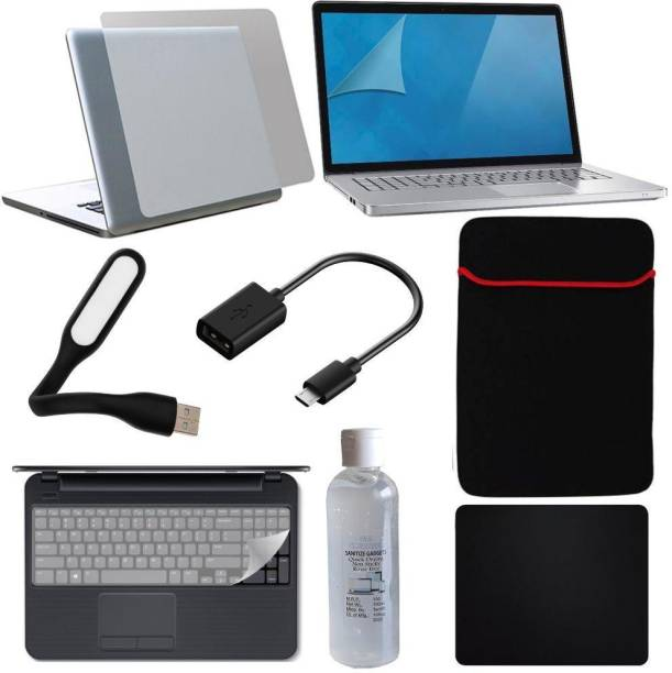FineArts 8in1 Combo of Transparent Laptop Skin with Usb Led Light, Cleaning Kit, Mouse Pad, Key Guard, Micro Usb Otg Cable, Laptop Sleeve and Screen Guard for 15.6 inches Laptop Combo Set