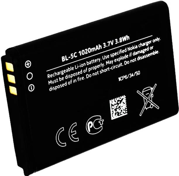 TokTon Mobile Battery For  NOKIA BL 5C/100/101/105/110/114/1100/1101/1110/1112/1200/1208/1209/1600/1616/1650/1680 classic/1800/Asha 202/Asha 203/Asha 205/207/208/2300/2310/2323 classic/2330 classic/2600/2610/2626/2700 classic/2730 classic/3100/3109 classic/3110 Classic/3120/3610/3650/3660/5030 XpressRadio/5130 XpressMusic/6030/6085/6230/6230i/6267/6270/6555/6600/6630/6670/6680/6681/6820/6822/7600/7610/C1-00/C1-01/C1-02/C2-00/C2-01/C2-02/C2-03/C2-06/X2-01/X2-05