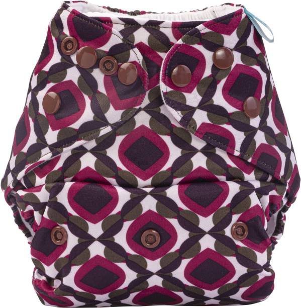 bumberry Abstract Print Reusable Pocket Style Adjustable Cloth Diaper With 1 Wet Free Insert For Babies (3-36 Months)