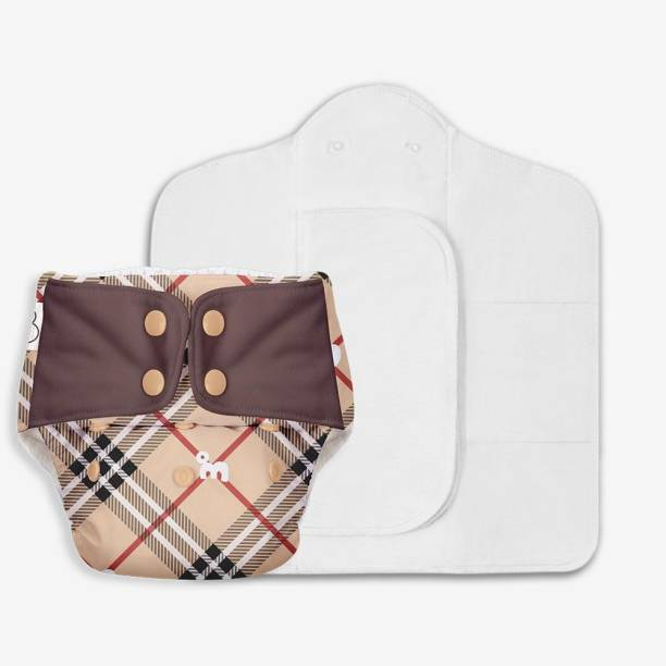 Superbottoms Freesize UNO - Washable & Reusable Cloth Diaper containing 1 Waterproof Outer + 1 Organic Cotton Dry Feel pad +1 Booster pad [Day & Night Use] (for Babies 5 KG- 17 KG) - Tartan royale