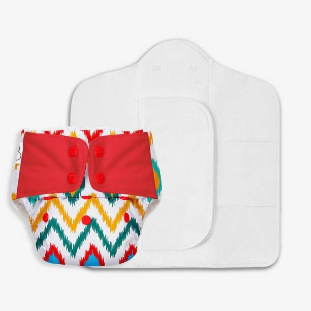 Superbottoms Freesize UNO- Reusable cloth diaper with 2 organic cotton pads, Fits - Ikkat Chevron