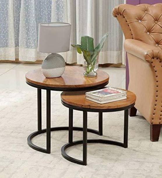PRITI Nesting Table (Set of 2) - Natural Finish Engineered Wood Nesting Table