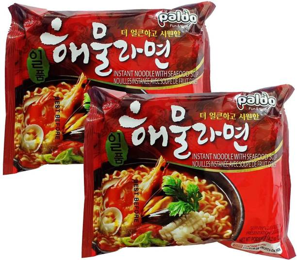 Paldo IIpoom Seafood Soup Instant Noodles(Hot &Spicy Seafood Soup Base)120g(Pack Of 2 )(120gX2) Instant Noodles Non-vegetarian