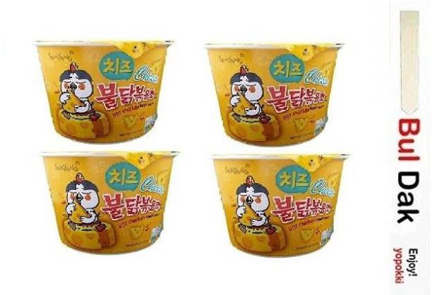 Samyang Big Cheese Bowl Flavor Ramen Cup Noodle Soup With Chopstick 105gm*4Pack (Imported) (Pack of 4) Instant Noodles Non-vegetarian