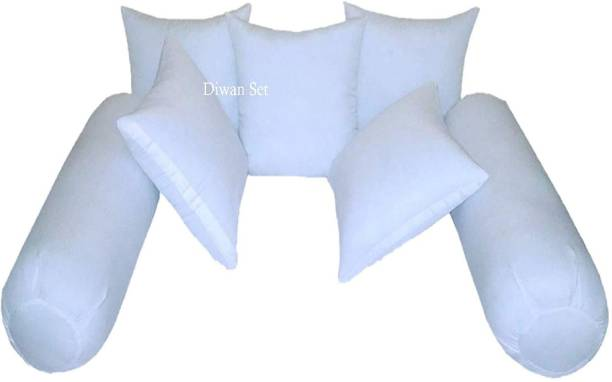 KHUKU Polyester Fibre Solid Cushion Pack of 7