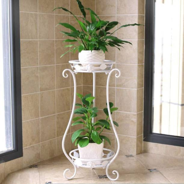 Dime Store Metal Flower Pot Plant Stand Holder vase Stand- White Plant Container Set