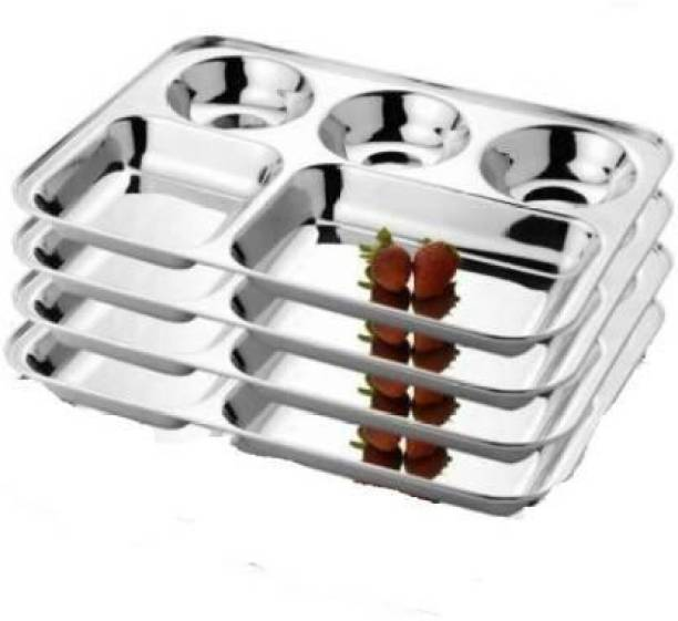 FoodNest stainless steel 5 partition bhojan thali/patra with hight polish Sectioned Plate Sectioned Plate (4 Sectioned Plate) Sectioned Plate