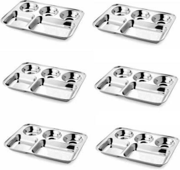 FoodNest Stainless steel bhojan thali / compartment plate 32cm Sectioned Plate (6 Sectioned Plate) Sectioned Plate