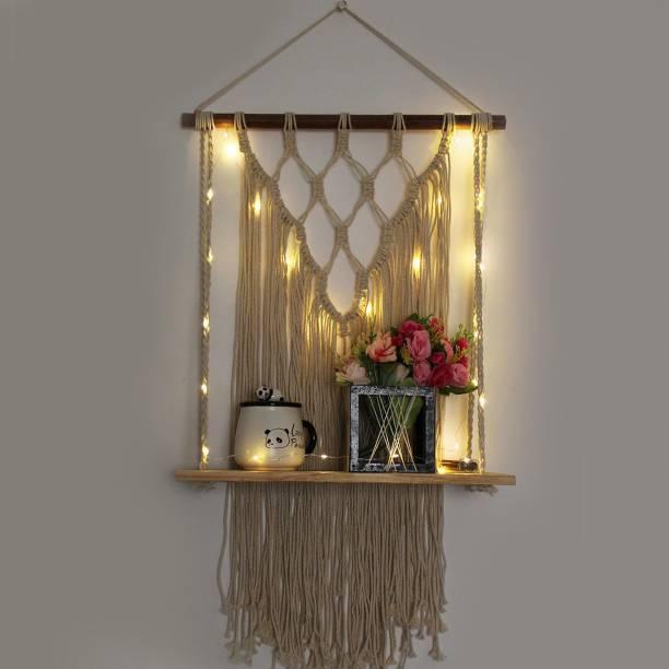 VAH Macrame Wall Hanging Shelf, Set of 1 Wood Floating Shelves -Wood Hanging Shelf Bohemian With LED Light Wooden Wall Shelf